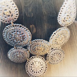 BOHEMIAN STYLE PEWTER CRYSTAL DISC NECKLACE